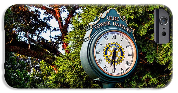 Michael iPhone Cases - Old Towne Daphne Clock  iPhone Case by Michael Thomas