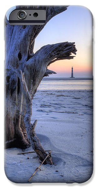 Morning iPhone Cases - Old Tree and Morris Island Lighthouse Sunrise iPhone Case by Dustin K Ryan