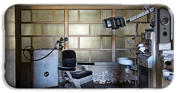 Creepy iPhone Cases - Old Vintage Dentist Chair In Abandoned Building iPhone Case by Dirk Ercken