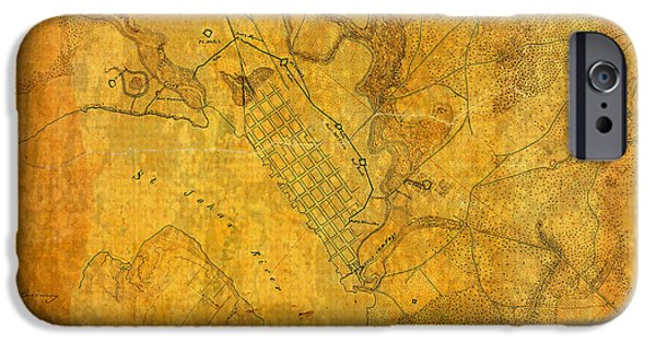 War iPhone Cases - Old Vintage Map of Jacksonville Florida Circa 1864 Civil War on Worn Distressed Parchment iPhone Case by Design Turnpike