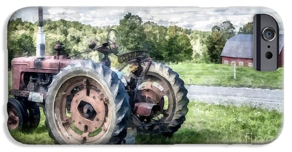 John Deere Tractor iPhone Cases - Old Vintage Tractor on the Farm iPhone Case by Edward Fielding