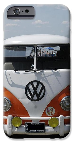 Cars Pyrography iPhone Cases - old VW bus  iPhone Case by Claude Prud