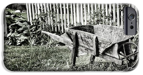 Meadow Photographs iPhone Cases - Old Wheelbarrow And Fence iPhone Case by John Hoesly
