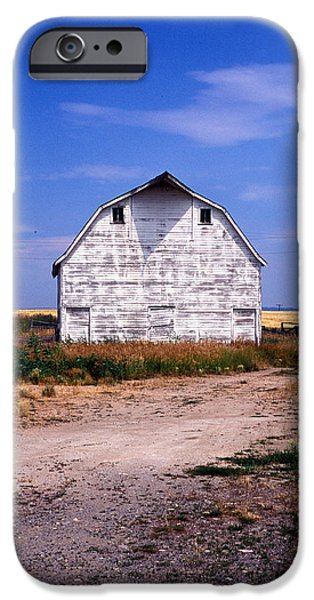 Barn Print Photographs iPhone Cases - Old White Barn iPhone Case by Kathy Yates