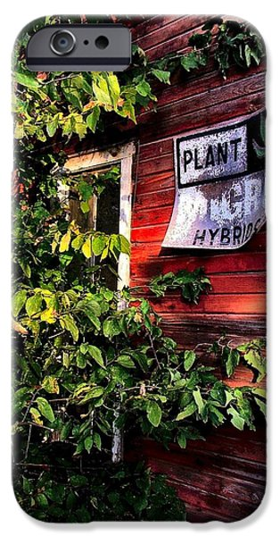 Julie Dant Artography iPhone Cases - Old Williams Indiana Feed Mill detail iPhone Case by Julie Dant