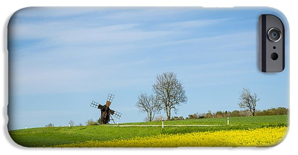 Agriculture iPhone Cases - Old windmill at a blossom rapeseed field iPhone Case by Kennerth and Birgitta Kullman