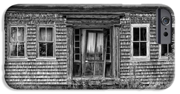 White House iPhone Cases - Old Wood Shingle House Black and White Photograph iPhone Case by Keith Webber Jr