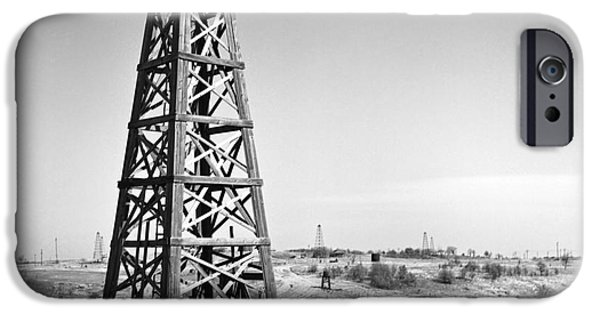 Old Photographs iPhone Cases - Old Wooden Derrick iPhone Case by Larry Keahey