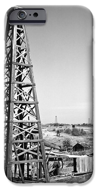 Old Wooden Derrick iPhone Case by Larry Keahey