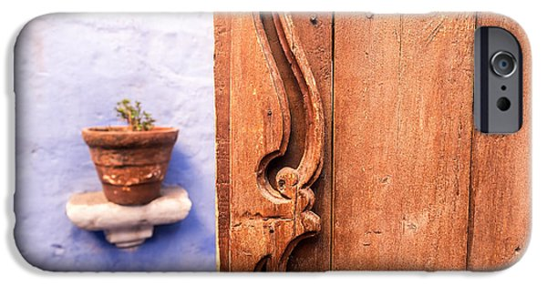 Catherine White Photographs iPhone Cases - Old Wooden Door in Arequipa iPhone Case by Jess Kraft