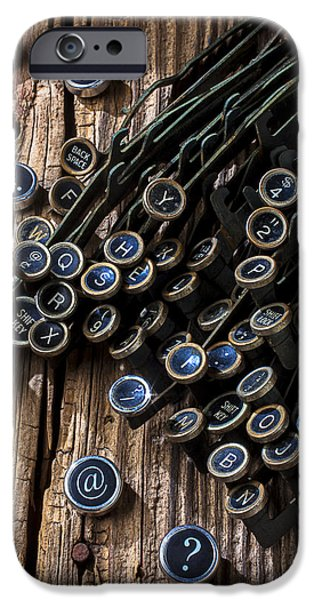 Typewriter Keys Photographs iPhone Cases - Old worn typewriter keys iPhone Case by Garry Gay