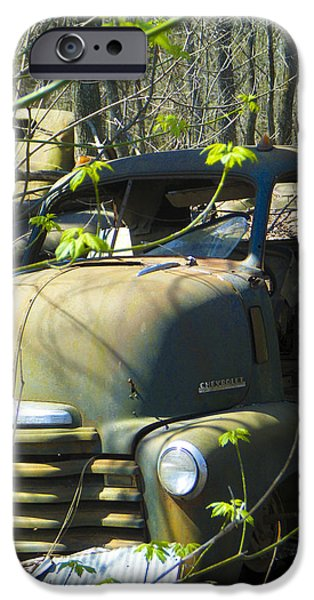 Old Cars iPhone Cases - Old Wrecks Submerged in Woods in the Springtime 16 iPhone Case by Tamara Kulish
