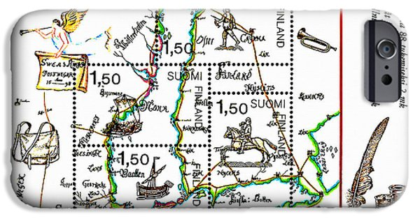Negotiating iPhone Cases - Oldest Swedish Finnish Postlines Map 3 iPhone Case by Lanjee Chee