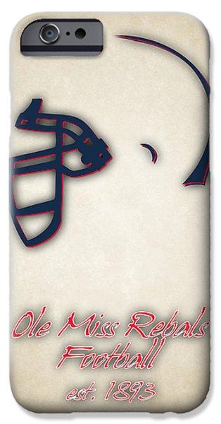 Dunk iPhone Cases - Ole Miss Rebels Helmet iPhone Case by Joe Hamilton