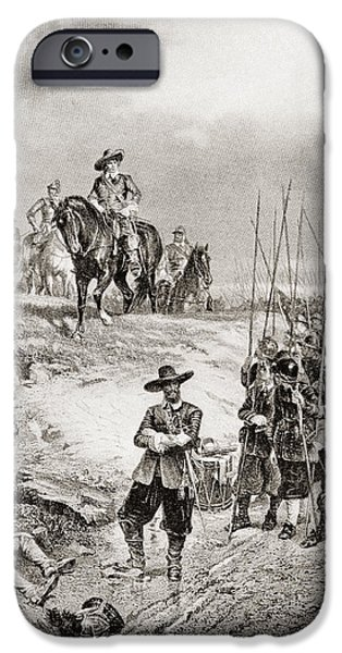 War iPhone Cases - Oliver Cromwell At The Battle iPhone Case by Ken Welsh