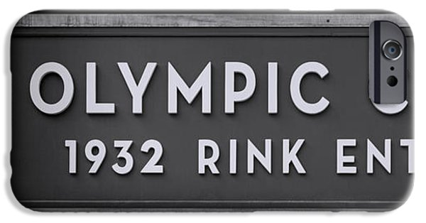 Miracle iPhone Cases - Olympic Center 1932 Rink Entrance - Monochrome iPhone Case by Stephen Stookey