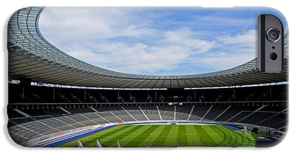Deutschland iPhone Cases - Olympic Stadium Berlin iPhone Case by Juergen Weiss