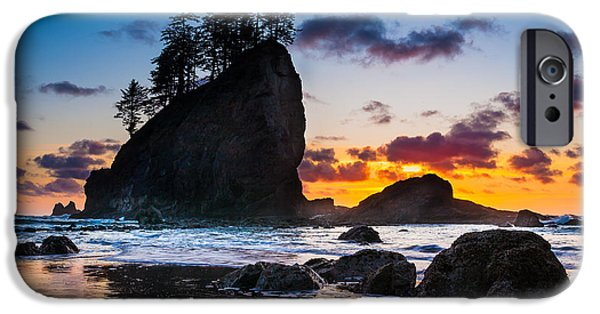Beach iPhone Cases - Olympic Sunset iPhone Case by Inge Johnsson