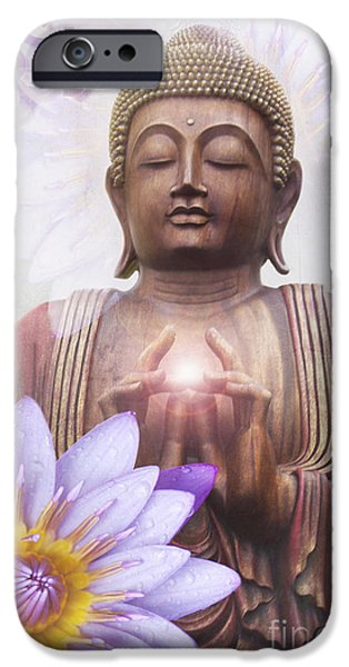 Consciousness iPhone Cases - Om mani padme hum - Buddha Lotus iPhone Case by Sharon Mau