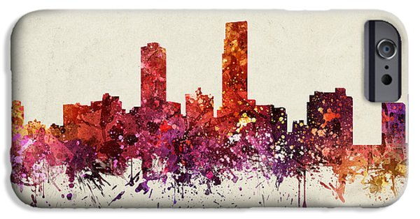 North Drawings iPhone Cases - Omaha Cityscape 09 iPhone Case by Aged Pixel