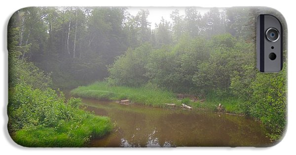 Little Girl iPhone Cases - Omans Creek on Misty Morning iPhone Case by Mikel Classen