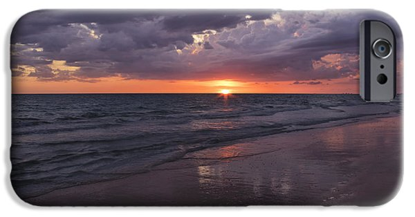 Ocean Sunset iPhone Cases - On A Cloudy Night iPhone Case by Kim Hojnacki
