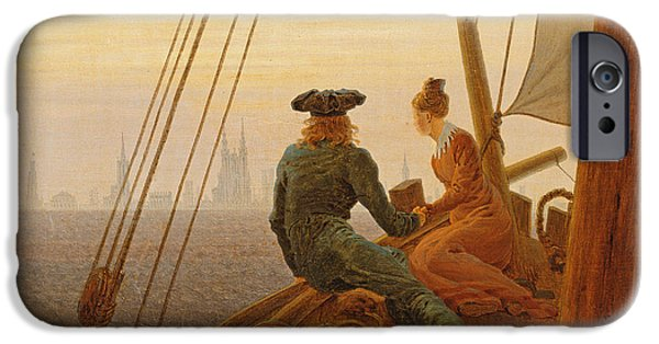 Boat iPhone Cases - On Board a Sailing Ship iPhone Case by Caspar David Friedrich