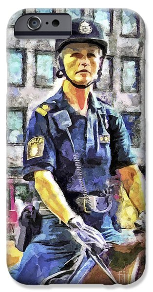 Police Officer Paintings iPhone Cases - On Duty iPhone Case by GabeZ Art