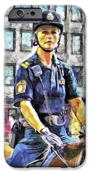 Police Art iPhone Cases - On Duty iPhone Case by GabeZ Art