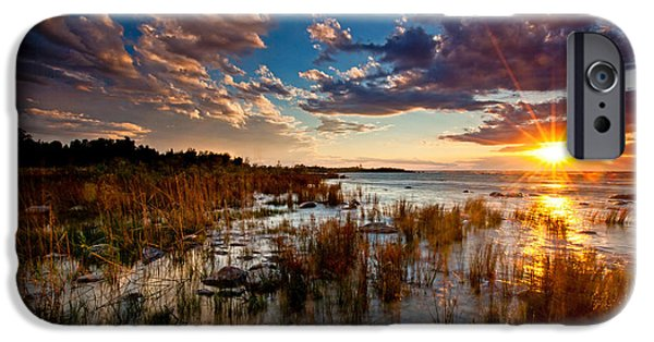 Evening iPhone Cases - On Lake Michigans Shore iPhone Case by Dan Holmes