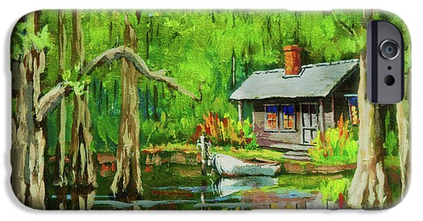 Cypress Trees iPhone Cases - On the Bayou iPhone Case by Dianne Parks