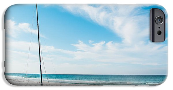 Sailboats iPhone Cases - On the Beach iPhone Case by Shelby  Young