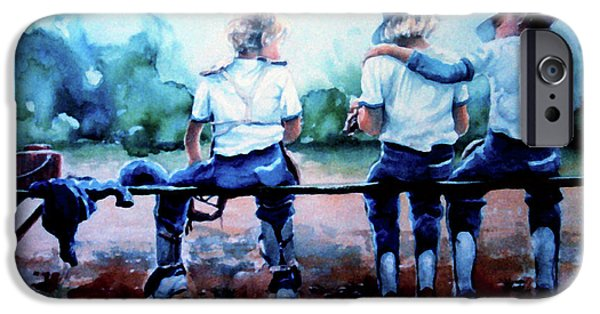 Kids Sports Art iPhone Cases - On The Bench iPhone Case by Hanne Lore Koehler