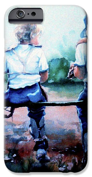 On The Bench iPhone Case by Hanne Lore Koehler