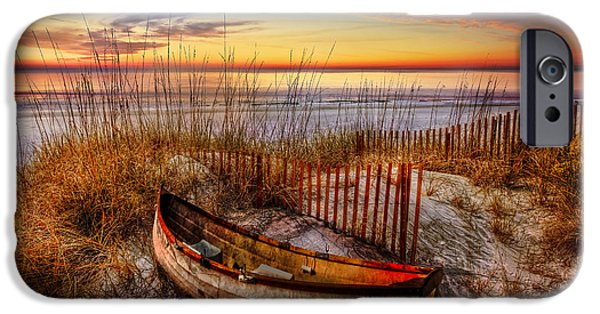 Beach Landscape iPhone Cases - On The Dunes iPhone Case by Debra and Dave Vanderlaan