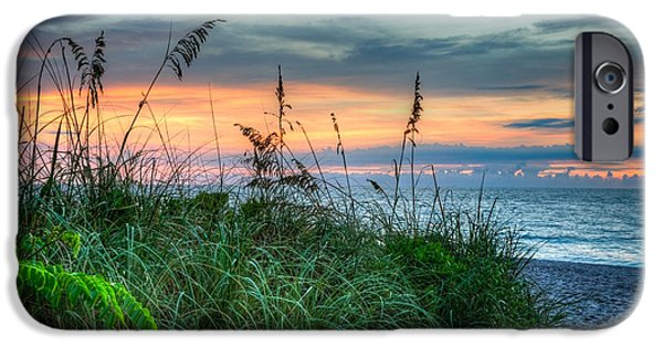 Beach iPhone Cases - On the Edge of Sunrise iPhone Case by Debra and Dave Vanderlaan