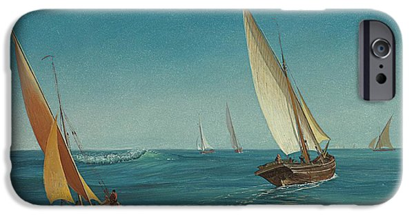 Shipping iPhone Cases - On the Mediterranean  iPhone Case by Albert Bierstadt