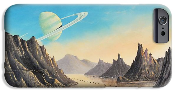 Exoplanet Paintings iPhone Cases - On the Moon of a Ringed Exoplanet iPhone Case by Suresh Chakravarthy