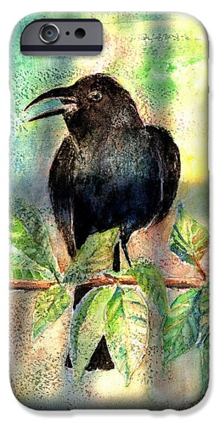 Black Bird iPhone Cases - On The Outside Looking In iPhone Case by Arline Wagner