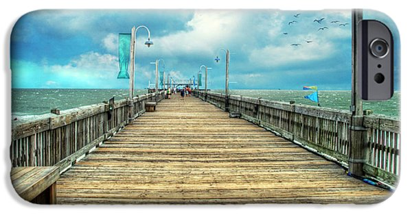 Tybee Island iPhone Cases - On the Pier at Tybee iPhone Case by Tammy Wetzel