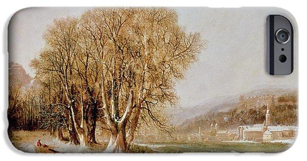 Pulling Paintings iPhone Cases - On the River Neckar near Heidelberg iPhone Case by Joseph Paul Pettit