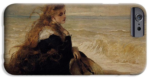 Vintage Images iPhone Cases - On The Seashore iPhone Case by George Elgar Hicks