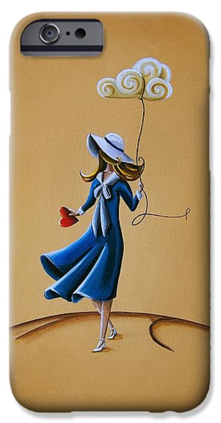 Girls Paintings iPhone Cases - On The Street Where You Live iPhone Case by Cindy Thornton