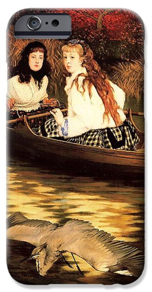Autumn iPhone Cases - On The Thames - A Heron iPhone Case by James Tissot