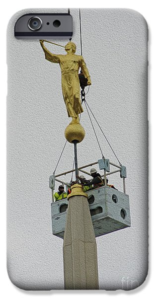 Angel Moroni iPhone Cases - On the top iPhone Case by Gloria Pasko