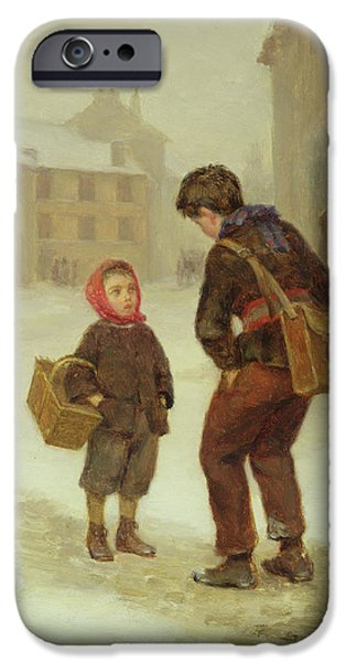 Friends Meeting iPhone Cases - On the way to school in the snow iPhone Case by Pierre Edouard Frere