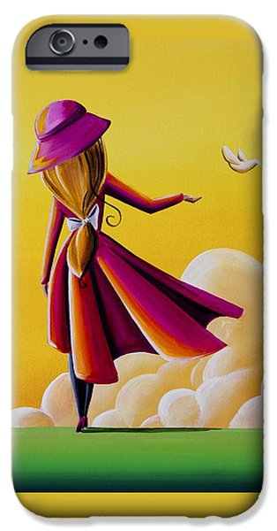 Fuchsia iPhone Cases - On The Wings Of A Dove iPhone Case by Cindy Thornton