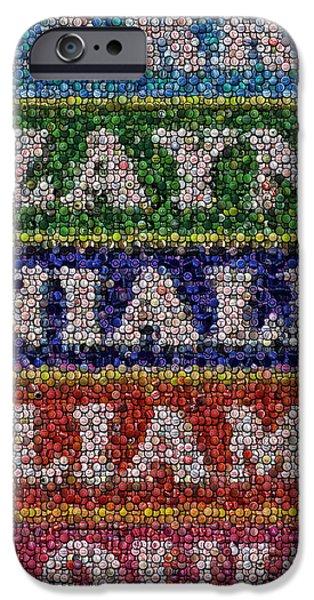 Bottlecaps iPhone Cases - One Direction Names Bottle Cap Mosaic iPhone Case by Paul Van Scott