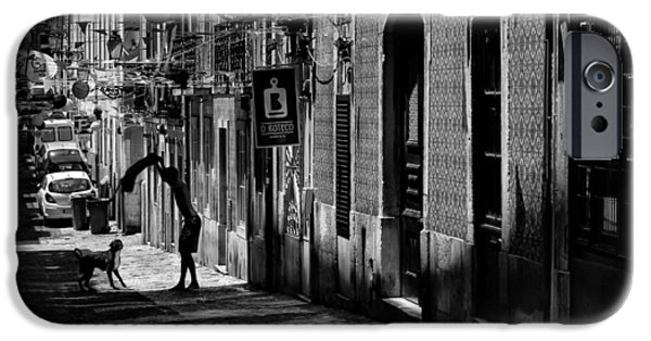 Citylife iPhone Cases - One Man and His Dog. Bairro Alto. Lisbon iPhone Case by Carol Japp