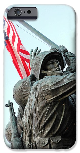Cora Wandel iPhone Cases - One Mans Face Amid Several Hands -- Raising The American Flag At Iwo Jima iPhone Case by Cora Wandel
